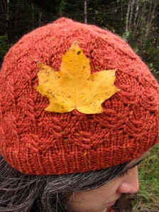 Fall Knitting Red Beanie Leaf