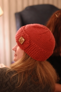 Fall Knitting Red Beanie