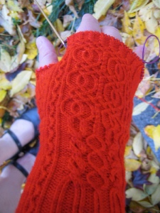 Fall Knitting Red Gloves