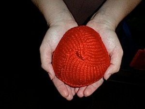 The original Knitted  Knocker. Photo credit: The Knitting Experience Cafe